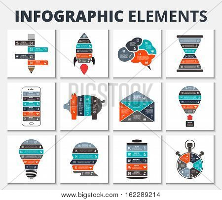 Vector elements for business, education, startup infographic. Template for diagram, graph, presentation and round chart. Business concept with 4, 5 and 6 options, parts, steps or processes.