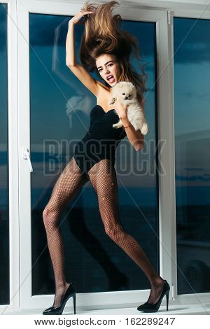 Pretty sexy girl cute slim woman has pink lips with long beautiful hair and legs in black fishnet tights fashionable shoes and lingerie at window on blue sky background holds small dog or puppy pet