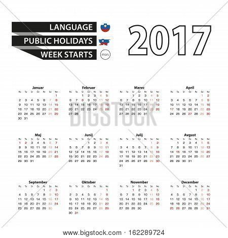 Calendar 2017 On Slovenian Language. With Public Holidays For Slovenia In Year 2017. Week Starts Fro