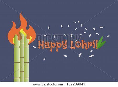 Banner For Punjabi Festival Happy Lohri celebration, color vector illustration