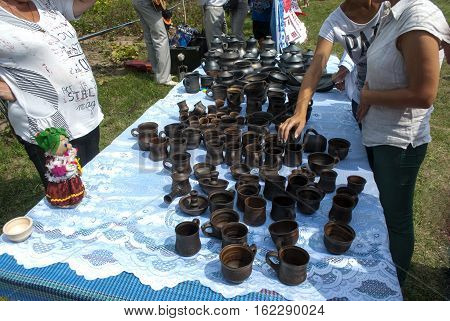 foto are different tableware made of clay