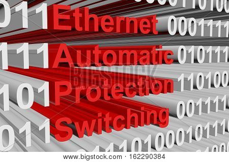 Ethernet Automatic Protection Switching in the form of binary code, 3D illustration