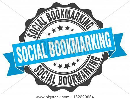 social bookmarking. stamp. sign. seal. round. retro. ribbon