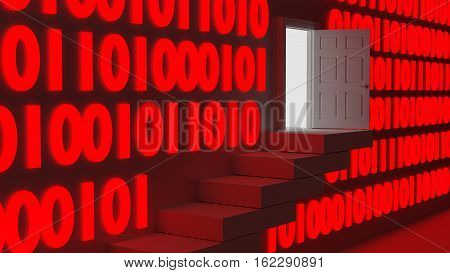 Stairs leading up to an exit in a wall with red glowing digital datastreams backdoor concept 3D illustration