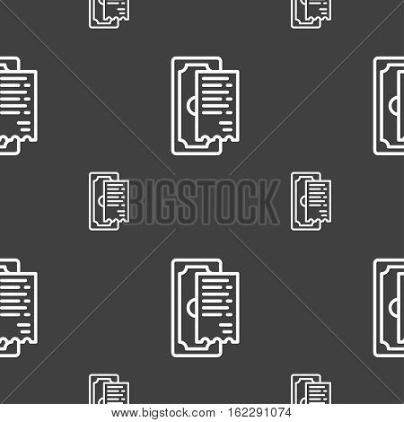 Cheque Icon Sign. Seamless Pattern On A Gray Background. Vector