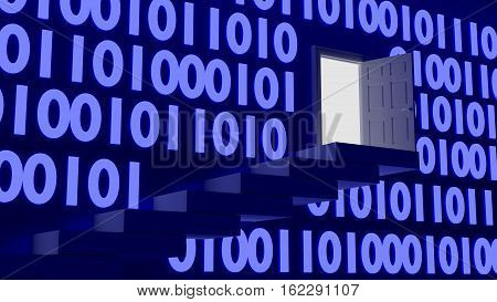 Stairs leading up to an exit in a wall with blue glowing digital datastreams backdoor concept 3D illustration