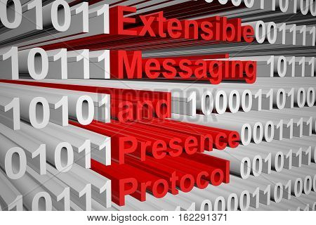 Extensible Messaging and Presence Protocol in the form of binary code, 3D illustration
