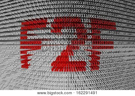 F2F in the form of binary code, 3D illustration