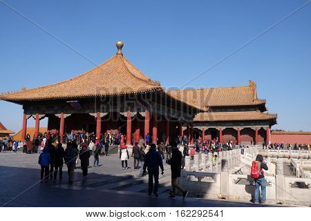 BEIJING - FEBRUARY 23:  Hall of Central Harmony Zhonghedian in the Forbidden City, Beijing, China, February 23, 2016.