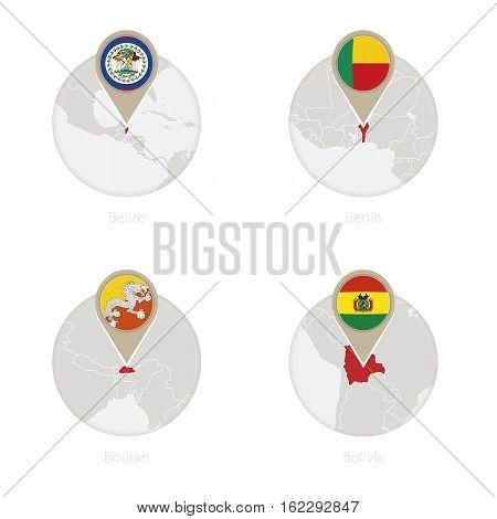 Belize, Benin, Bhutan, Bolivia Map And Flag In Circle.