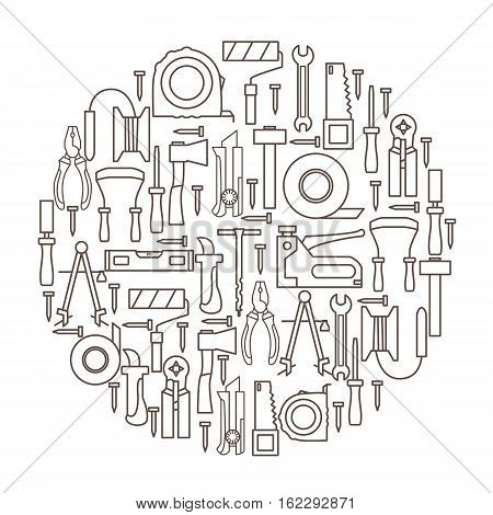 A set of hand tools for construction and repair located inside the circle on a white background. Vector illustration.