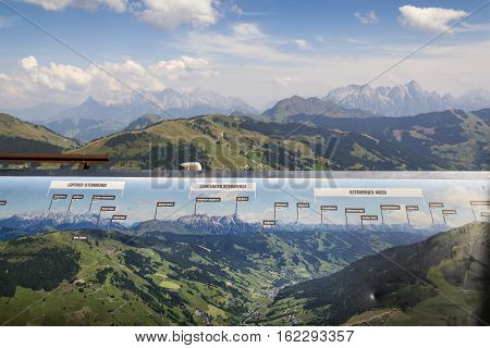 Loferer Mountains, Leogang Steinberge And Steinernes Meer With Map, Austria