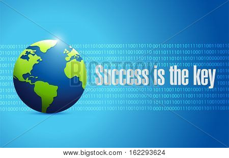 Success Is The Key Binary Globe Sign Concept