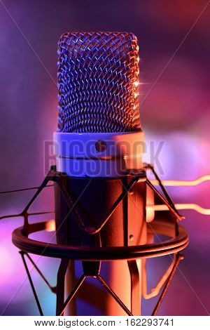 Close Up Studio Condenser Microphone And Equipment Live Recording Front