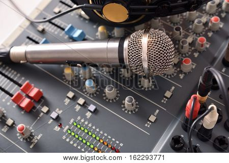 Recording Equipment In Studio Elevated View