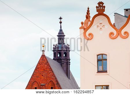 Main Market Square in Krakow. Fragment of a building near the Cathedral of St. Mary. Details. Poland