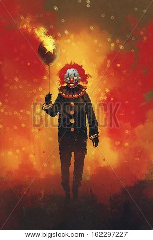 evil clown standing with a balloon on fire background, illustration painting