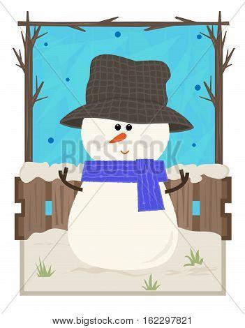 Clip art of a cute snowman on a winter scene background. Eps10