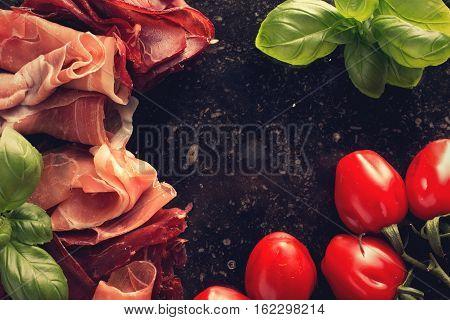 Jambon Mix. Ham. Traditional Italian And Spanish Salting, Smoking, Dry-cured Dish - Jamon Serrano An
