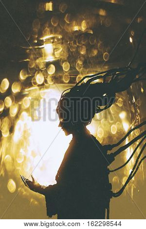 futuristic female robot silhouette on golden light background, illustration painting