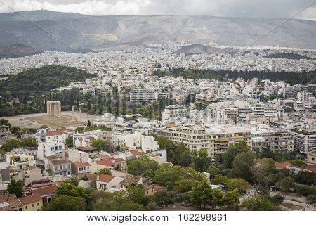 Panorama of Athens City View from the Acropolis hill