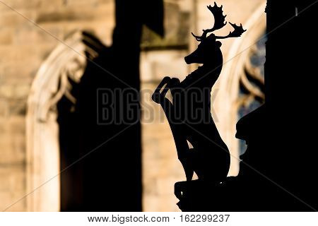 Stag as postament decoration of Statue of Walter Francis Montagu Douglas Scott Duke of Queensberry on the Parliament Square in Edinburgh