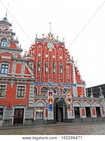 The House of the Blackheads in Riga's historic center, Christmas time 2016 in Latvia
