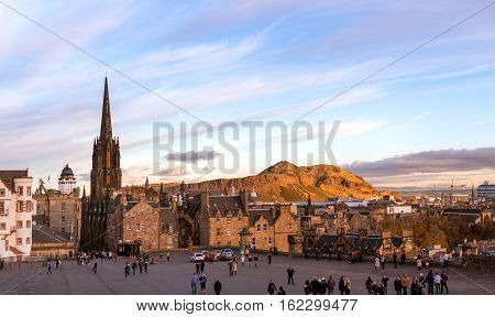 Edinburgh UK - November 04 2016: View on the Edinburgh International Festival centre and Esplanade from the Castle entrance