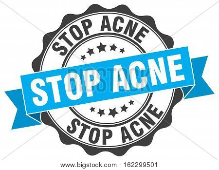 stop acne. stamp. sign. seal. round. retro. ribbon