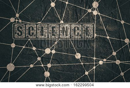 Molecule And Communication Background. Concrete texture. Science text. Unusual font. Connected lines with dots. Medical, technology, chemistry, science background