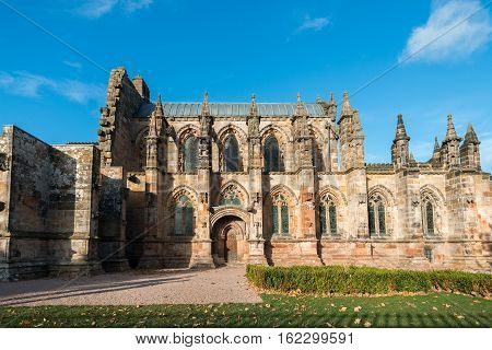 Rosslyn Chapel or the Collegiate Chapel of St Matthew a 15th-century chapel Scotland.