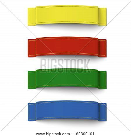 Set of 4 different color fabric labels with stitching isolated on white background