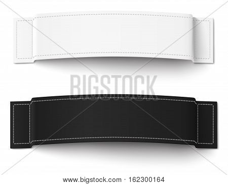 Two white and black fabric labels with stitching isolated