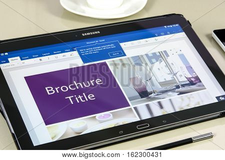 Krynica Poland - December 19 2016 - Microsoft Office Word application on Samsung Galaxy Note Pro 12.2. Microsoft Word is a text editor developed by Microsoft for Windows macOS Android and iOS.