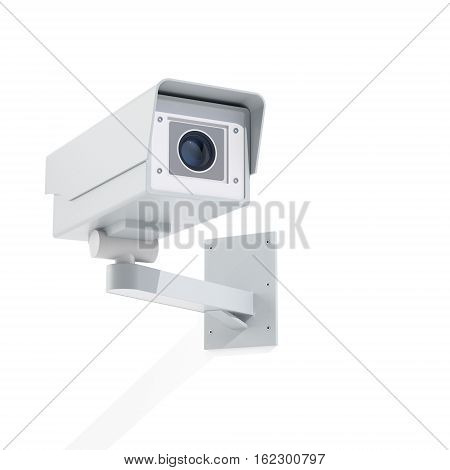 Wall mounted surveillance camera on white isolated background with long shadow. 3D render