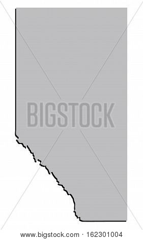 3D Stylised Vector Alberta Canada Territory Map Grey