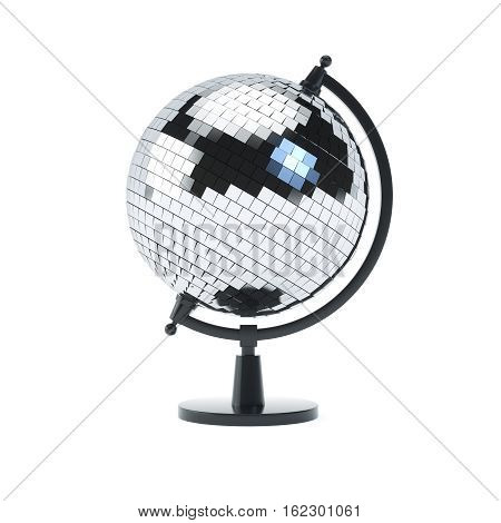 Disco ball globe on a stand on white isolated background. 3D render.