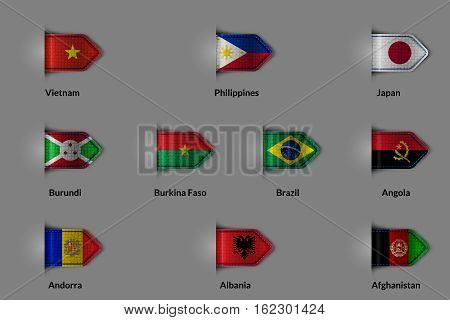 Set of flags in the form of a glossy textured label or bookmark. Vietnam Philippines Japan Burundi Burkina Faso Brazil Angola Andorra Albania Afghanistan. Vector illustration.