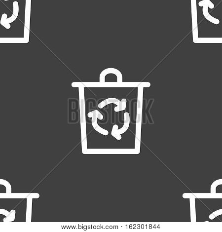 Bucket Icon Sign. Seamless Pattern On A Gray Background. Vector