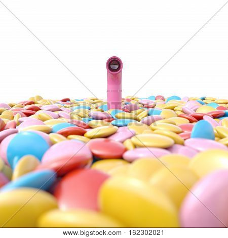 Periscope above sea of candies 3D render