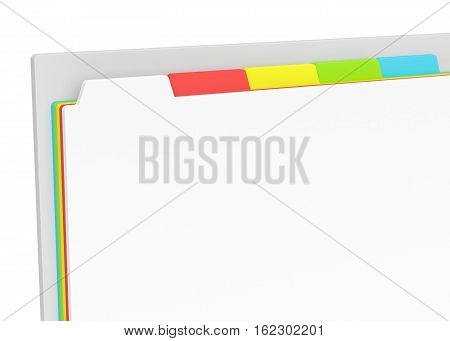3D browser window with colored tabs. Close up template isolated on white. 3D render