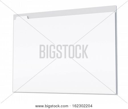 3D browser window with blank tab. Close up template isolated on white. 3D render