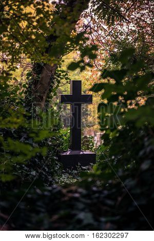 Cross-shaped tombstone surrounded by bushes at the Highgate Cemetery London famous for Karl Marx grave