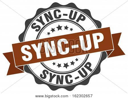 sync-up. stamp. sign. seal. round. retro. ribbon