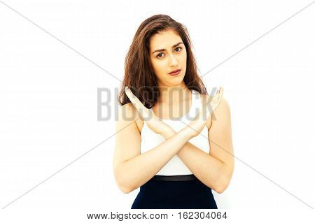 Beautiful Young Caucasian Woman In Smart Casual Dress Say No With Crossed Arms Hands With Copy Space