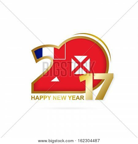 Year 2017 With Wallis And Futuna Flag Pattern. Happy New Year Design On White Background.