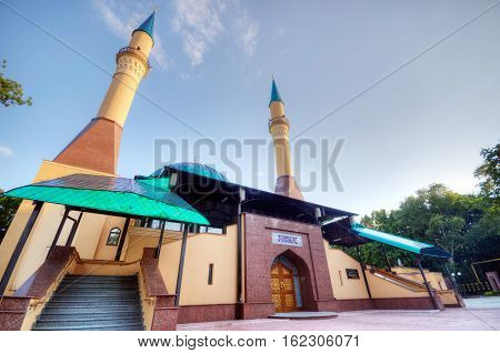 Beautiful sunset Mosque in Donetsk Ukraine. The Donetsk People's Republic (DPR or DNR)