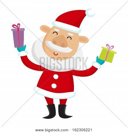 Santa Claus with gifts isolated on white background. Vector illustration for christmas card.