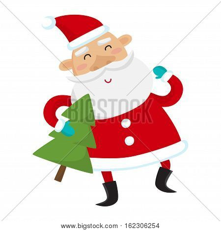 Santa Claus with Christmas tree isolated on white background. Vector illustration for christmas card.