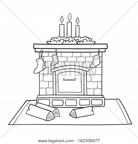Christmas card with fireplace decorated socks for gifts and candles